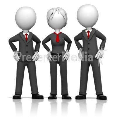 Three Business Executives PowerPoint Clip Art