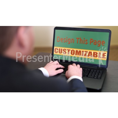 Business Person On Computer Custom Presentation clipart