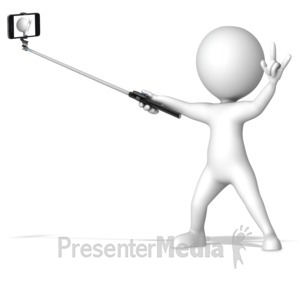 ID# 16427 - Figure With Selfie Stick - Presentation Clipart