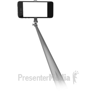 ID# 16431 - Phone On Selfie Stick - Presentation Clipart