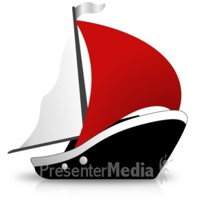 ID# 16439 - Simple Ship Sailing - Presentation Clipart