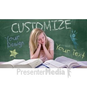 ID# 16493 - Teen Girl Study Chalkboard Custom - Presentation Clipart