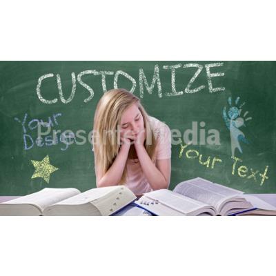 Teen Girl Study Chalkboard Custom Presentation clipart