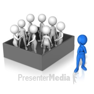 ID# 16506 - Figure Thinking Outside Group In Box - Presentation Clipart
