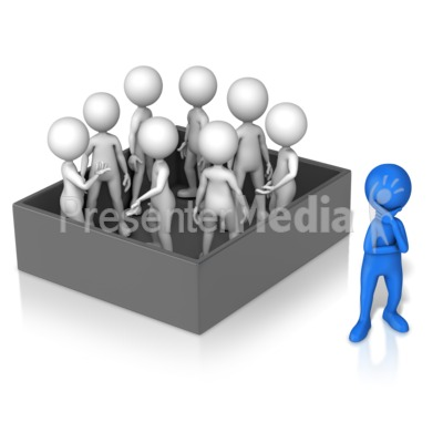 Figure Thinking Outside Group In Box PowerPoint Clip Art