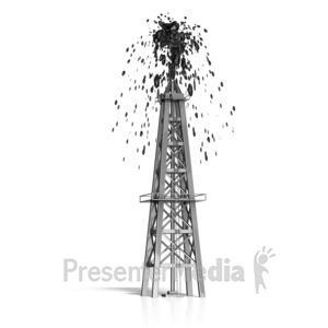 ID# 16527 - Oil Derrick Shooting Oil - Presentation Clipart