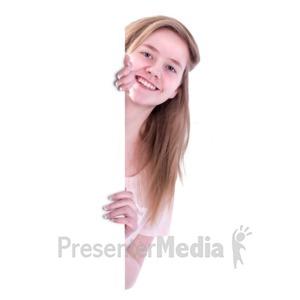 ID# 16537 - Teen Girl Behind Blank Wall - Presentation Clipart