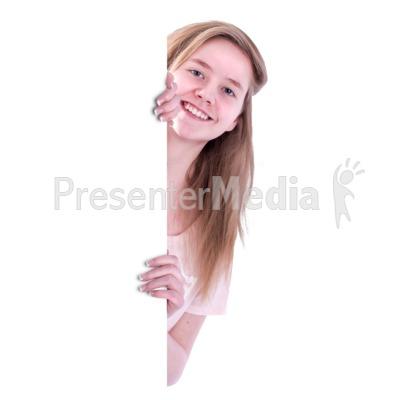 Teen Girl Behind Blank Wall PowerPoint Clip Art