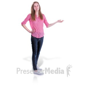 ID# 16541 - Teen Girl Gesture Side - Presentation Clipart