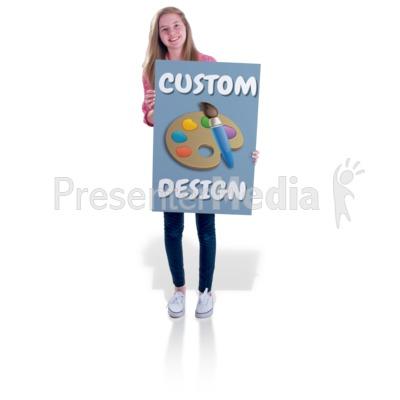 Teen Girl Hold Sign Custom Presentation clipart