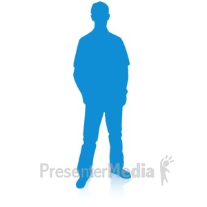 ID# 16695 - Man Silhouette Single Pose - Presentation Clipart