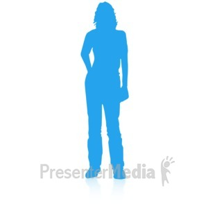 ID# 16696 - Woman Silhouette Single Pose - Presentation Clipart