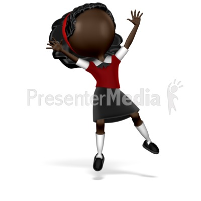 Girl Student Jumping PowerPoint Clip Art