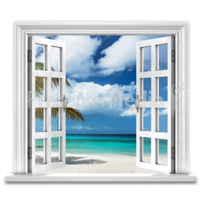 Open Window To Ocean Paradise PowerPoint Clip Art