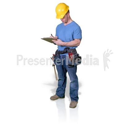 Construction Man Write Clipboard PowerPoint Clip Art