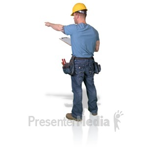 ID# 16769 - Construction Man Clipboard Point - Presentation Clipart