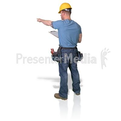 Construction Man Clipboard Point PowerPoint Clip Art