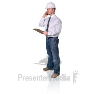 ID# 16771 - Foreman Clipboard Cellphone - Presentation Clipart