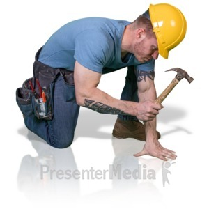 ID# 16775 - Construction Man Hammer Down - Presentation Clipart