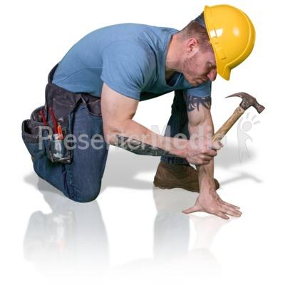 Construction Man Hammer Down PowerPoint Clip Art