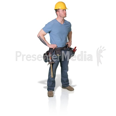 Construction Man Looking To Side PowerPoint Clip Art