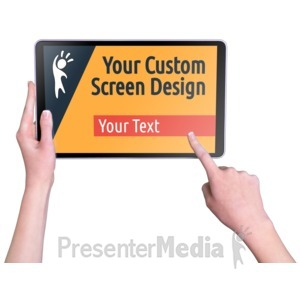 ID# 16800 - Hands Touch Tablet Female Custom - Presentation Clipart