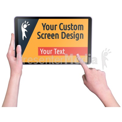 Hands Touch Tablet Female Custom Presentation clipart