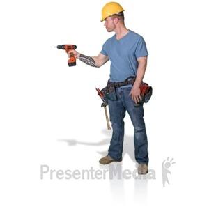 ID# 16801 - Construction Man Screw Gun Side - Presentation Clipart