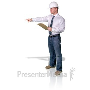 ID# 16802 - Foreman Pointing With Clipboard - Presentation Clipart