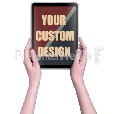 Hands Touch Tablet Vert Female Custom Presentation clipart