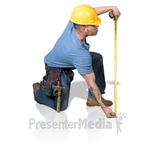 ID# 16832 - Construction Man Measure Up - Presentation Clipart