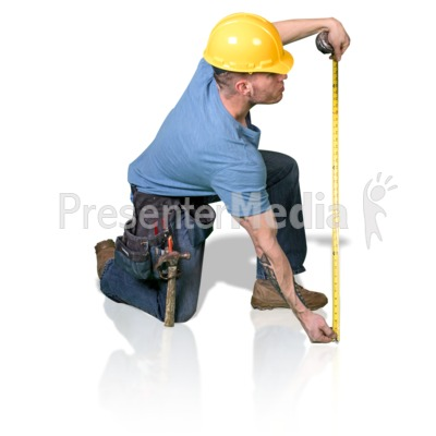Construction Man Measure Up PowerPoint Clip Art