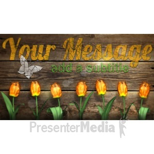 ID# 16852 - Custom Rustic Wood With Flowers - Presentation Clipart