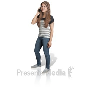 ID# 16924 - Young Girl Talking Cell Phone - Presentation Clipart