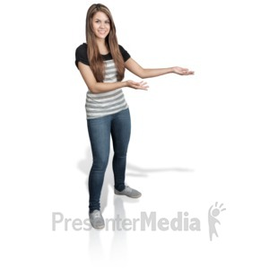 ID# 16926 - Young Girl Presenting Right - Presentation Clipart