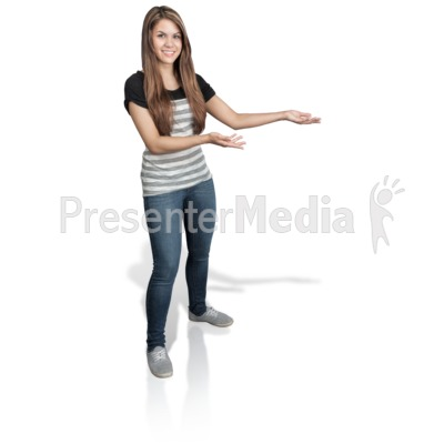 Young Girl Presenting Right PowerPoint Clip Art