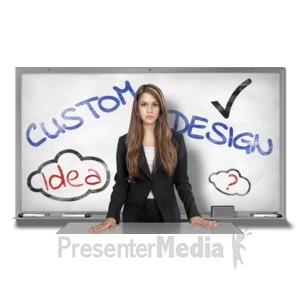 ID# 16934 - Young Woman White Board Custom - Presentation Clipart