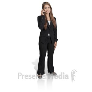 ID# 17006 - Young Girl Professional Phone - Presentation Clipart