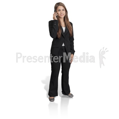 Young Girl Professional Phone PowerPoint Clip Art