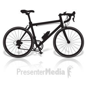 ID# 17020 - Bicycle Road Silhouette - Presentation Clipart