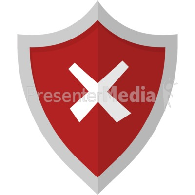X Cross Shield PowerPoint Clip Art