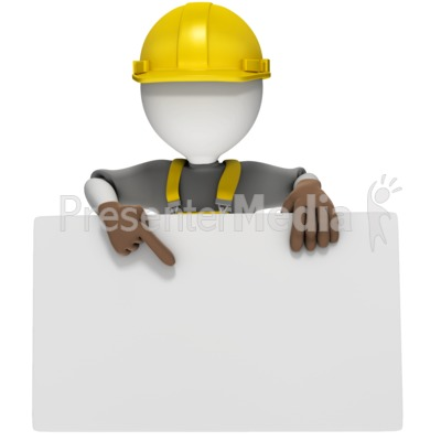 Construction Worker Holding Sign PowerPoint Clip Art