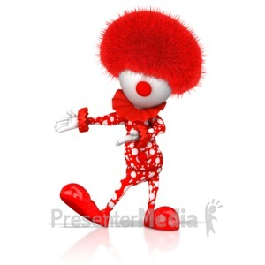 ID# 17074 - Clown Gesturing To Side - Presentation Clipart