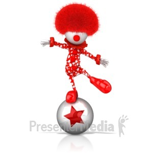 ID# 17077 - Clown Balancing on Ball - Presentation Clipart