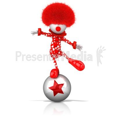 Clown Balancing on Ball PowerPoint Clip Art