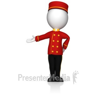 ID# 17101 - Bell Hop Gesture to the Side - Presentation Clipart