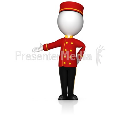 Bell Hop Gesture to the Side PowerPoint Clip Art