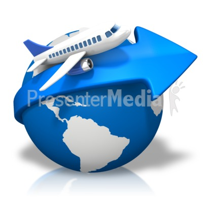 World Arrow Airplane PowerPoint Clip Art