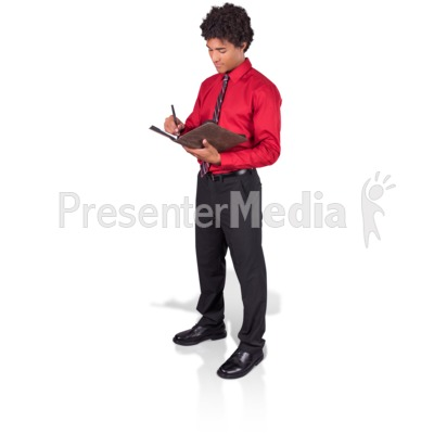 Young Man Taking Notes PowerPoint Clip Art