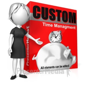 ID# 17136 - Woman Presenting Custom Software Box - Presentation Clipart